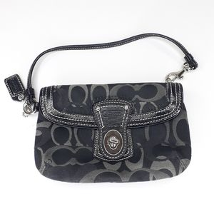 Coach Wristlet Black Gray 2 Pocket Handbag Wallet